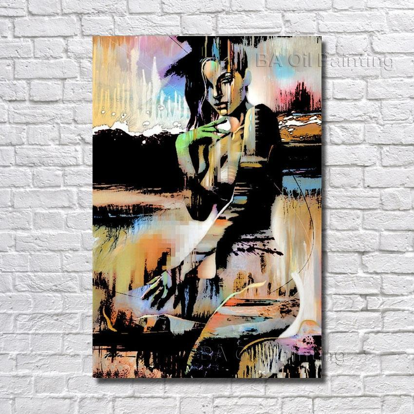 Hand Made Sexy Girl Oil Painting Abstract Modern Canvas Wall Art dukaiko