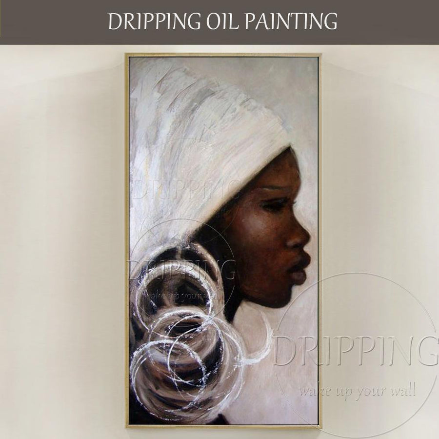 Hand-painted Abstract Africa Woman Portrait Oil Painting on Canvas Dukaiko