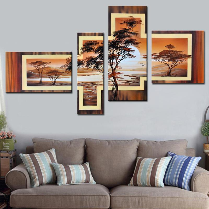 Hand Painted African Abstract Landscape Oil Paintings on Canvas Dukaiko
