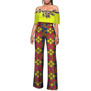 High Waist African Jumpsuits Out Off Shoulder Long Pants for Women dukaiko