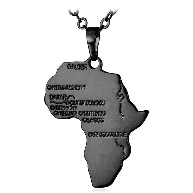 Hiphop Africa Necklace Gold Color Pendant & Chain African Map Dukaiko