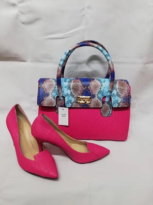 Latest African Match Blue&Snake Leather Shoes With African Handbag Sets Dukaiko