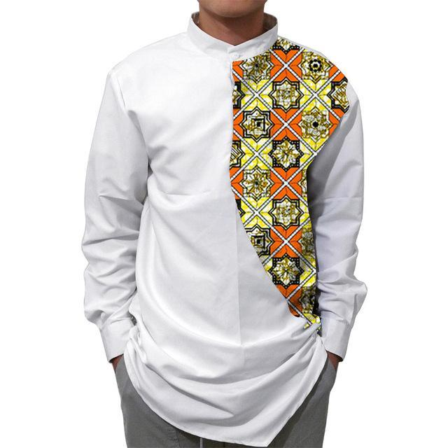 Men African Shirts Stand Collar Tops Dukaiko