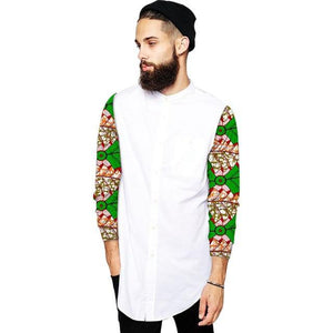 men fashion tops African shirt stand collar print wax patchwork dashiki outfits for causal/party wear Dukaiko