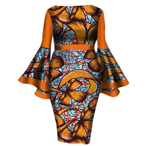 Mid-Calf Africa Sexy Speaker sleeves Dresses dukaiko