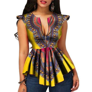 Modern Fashion Womens Tops Dashiki African Print Shirt dukaiko