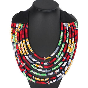 Multi Strand African Fabric Statement Necklace. dukaiko