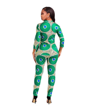 New African Clothes For Lady Dashiki Top and Pants Suit Dress Dukaiko