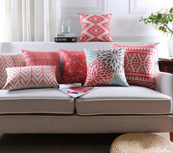 New Coral Red African Cushion Cover Home Decor Pillow Case