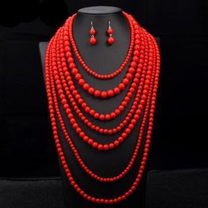 Nigerian Multi layer Pearl African Beads Jewelry Sets Dukaiko