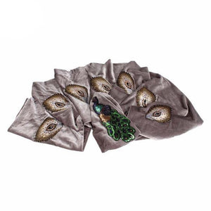 Sequined Peacock Embroidery Extra Long Velvet Turban Head Wrap Scarf dukaiko