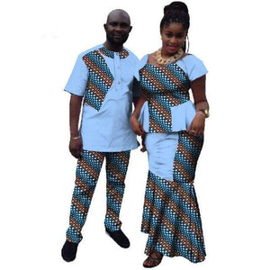 Summer Couple African Clothing Dashiki Women Skirt Set Men's Suits Dukaiko