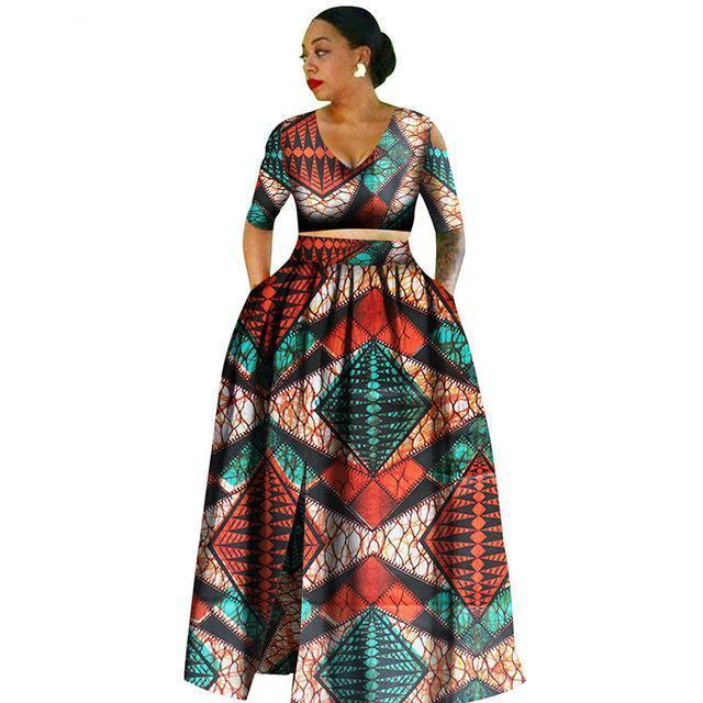 Tradition 2 Piece Plus Size Dashikis african wax prints clothing for women dukaiko