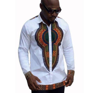 Traditional Bazin Riche African Style Printed T-shirts Long Sleeve Dashiki Shirt dukaiko