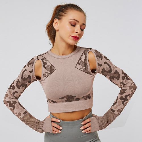 Hollow Camouflage Fitness Top