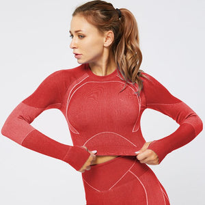Red women's seamless fitness top w/ long sleeves open back