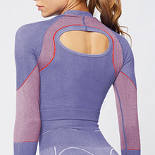 Purple women's seamless fitness top w/ long sleeves open back