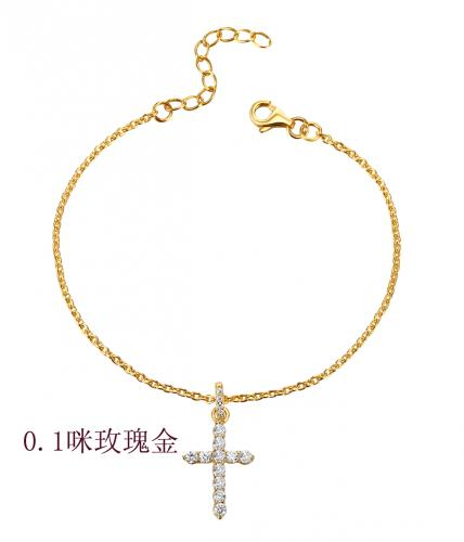 Yellow Gold CZ Cross 925 Sterling Silver Bracelet HB06909A