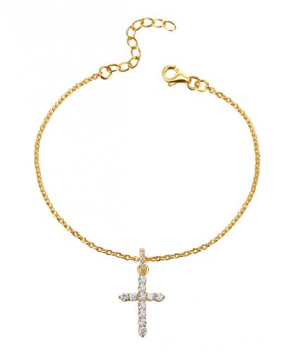 Yellow Gold CZ Cross 925 Sterling Silver Bracelet HB06909B