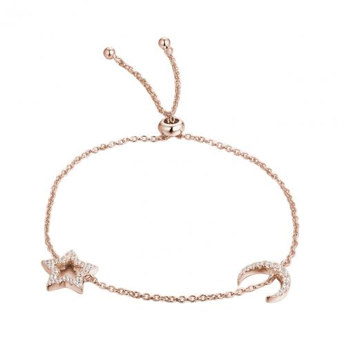 Rose Gold CZ Star Fashion 925 Silver Jewelry Bracelet HB08601G