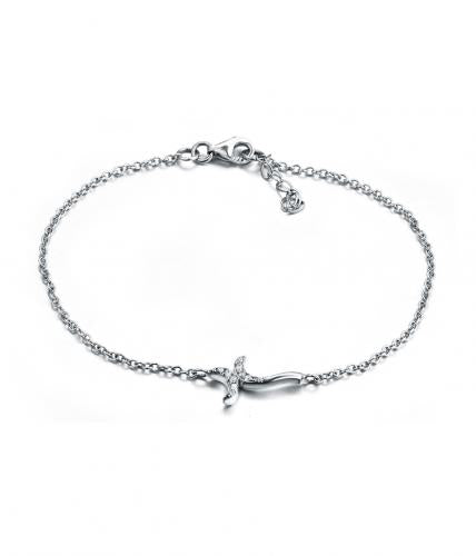 Rhodium CZ Cross 925 Sterling Silver Bracelet HB08603B