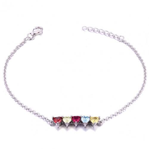 Rhodium Gemstone Heart 925 Sterling Silver Bracelet HB10806A
