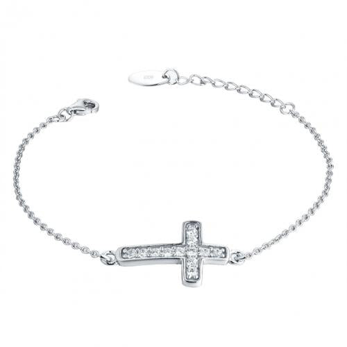 Rhodium CZ Cross 925 Sterling Silver Bracelet HB008D7B