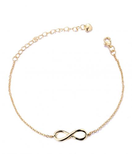 Yellow Gold Infinity 925 Sterling Silver Bracelet HB002P7C