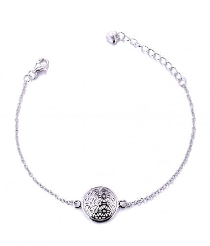 White Gold  Ball 925 Sterling Silver Bracelet HB002P8A