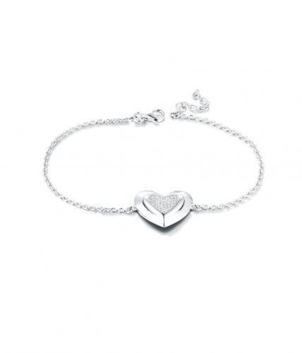 Rhodium CZ Heart 925 Silver Jewelry Bracelet FB01601A