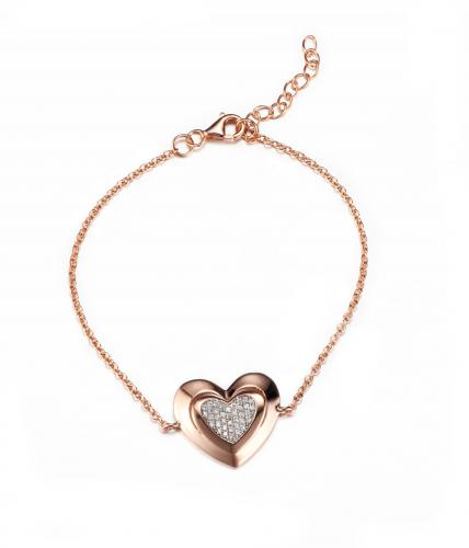 Rose Gold CZ Heart 925 Silver Jewelry Bracelet FB01601D