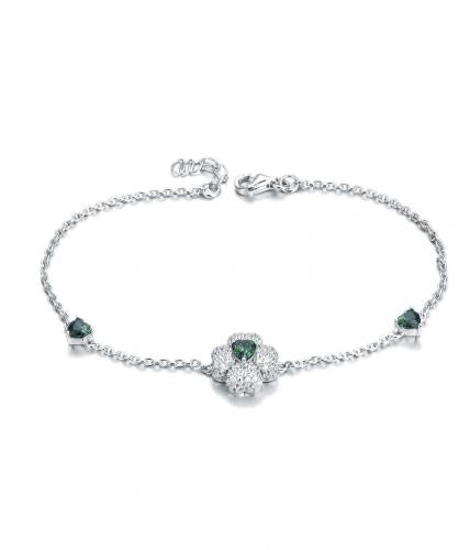 Rhodium Emerald Clover Fashion 925 Sterling Silver Bracelet FB01901A