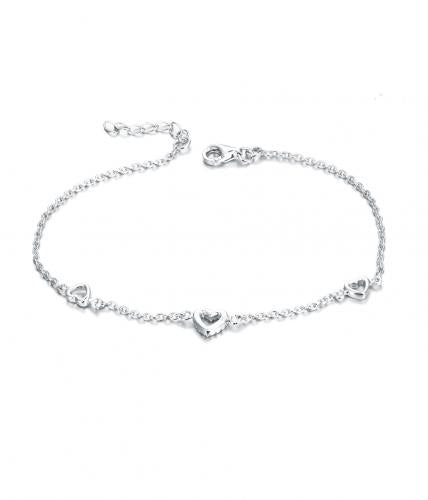 Rhodium CZ Heart 925 Silver Jewelry Bracelet FB01909A