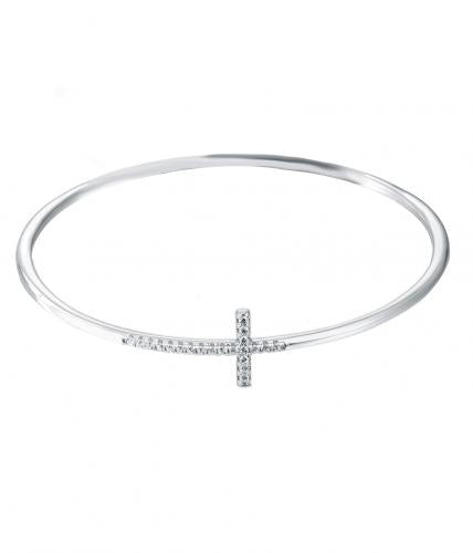 Rhodium CZ Cross 925 Sterling Silver Bracelet FB02105A