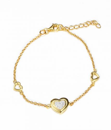Yellow Gold CZ Heart 925 Silver Jewelry Bracelet FB02108C
