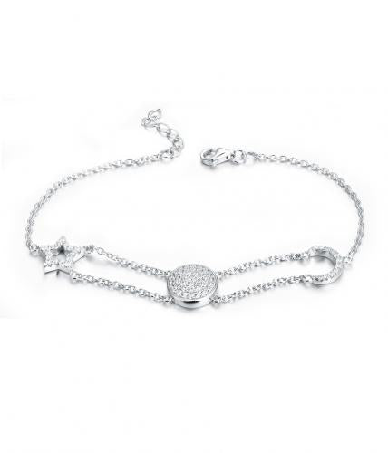 Rhodium CZ Moon Fashion 925 Sterling Silver Bracelet FB02509A