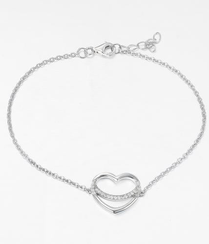 Rhodium CZ Heart 925 Silver Jewelry Bracelet FB03207B