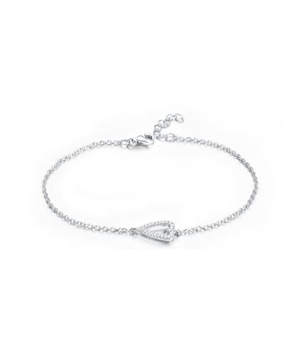 Rhodium CZ Heart 925 Silver Jewelry Bracelet FB03405A