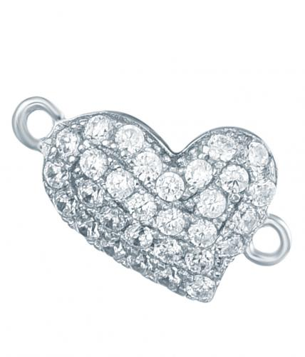 Rhodium CZ Heart 925 Silver Jewelry Bracelet FB03806A