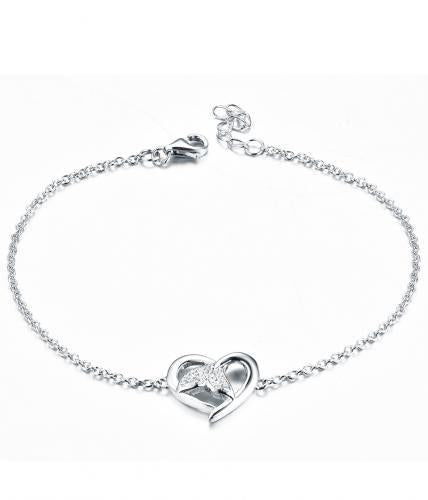 Rhodium CZ Heart 925 Silver Jewelry Bracelet FB04001A
