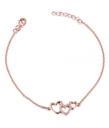 Rose Gold CZ Heart 925 Silver Jewelry Bracelet FB04300E