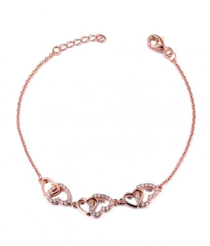 Rose Gold CZ Heart 925 Silver Jewelry Bracelet FB04500B