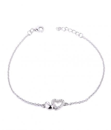 Rhodium CZ Heart 925 Silver Jewelry Bracelet FB04502A