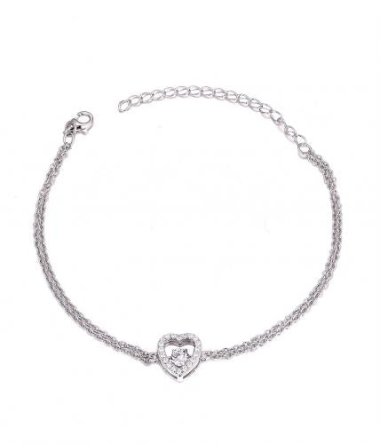 Rhodium CZ Heart Dancing 925 Sterling Silver FB04607A