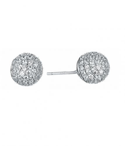 Rhodium CZ Stud Ball 925 Sterling Silver Earring FE01103A