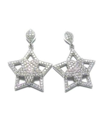 Rhodium CZ Stud Star Fashion 925 Sterling Silver Earring FE03509A