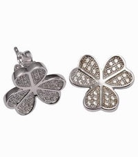 Rhodium CZ Stud Clover Fashion 925 Sterling Silver Earring FE03904A
