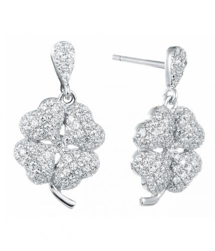 Rhodium CZ Drop Flower Fashion 925 Sterling Silver Earring FE04506A