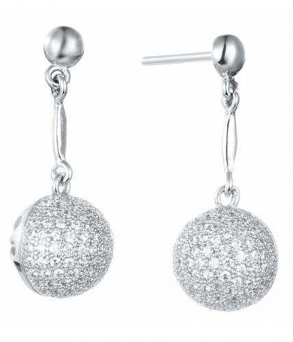 Rhodium CZ Drop Ball 925 Sterling Silver Earring FE05404A