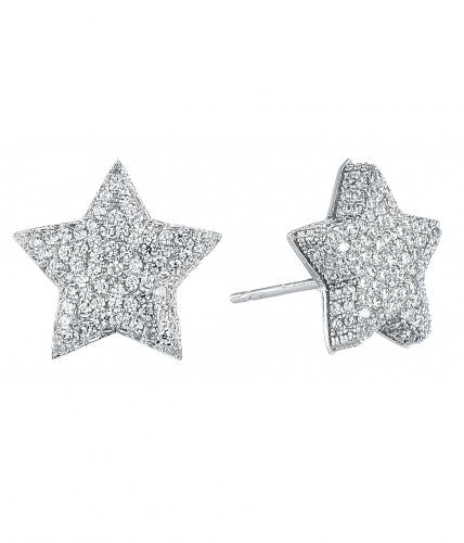 Rhodium CZ Stud Star Fashion 925 Sterling Silver Earring FE08107A